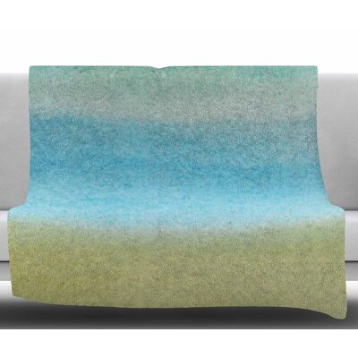 Watercolor Paint Stripe by Jennifer Rizzo Fleece Blanket Size: 50 W x 60 L