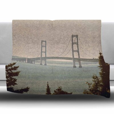 Mackinac Bridge by Angie Turner Fleece Blanket Size: 60 W x 80 L
