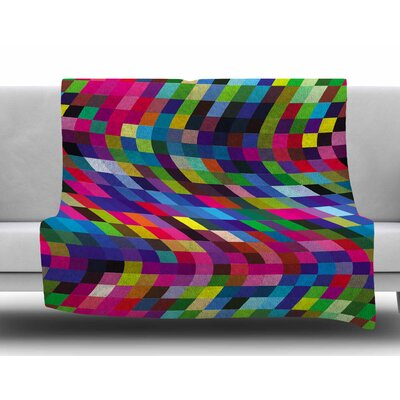 Colorful Geometric Movement by Dawid Roc Fleece Blanket Size: 60 W x 80 L