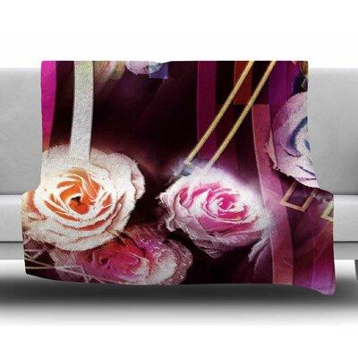 Roses-Floral Geometric Stripes by Dawid Roc Fleece Blanket Size: 50 W x 60 L