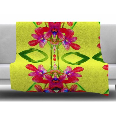 Tropical Floral Orchids 1 by Dawid Roc Fleece Blanket Size: 60 W x 80 L