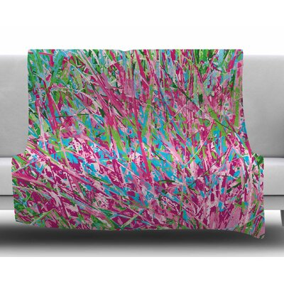 Spring Grass Abstract by Empire Rhul Fleece Blanket Size: 60 W x 80 L