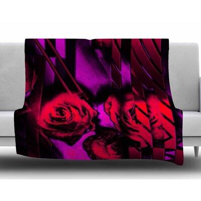 Red Roses-Flower Geometric by Dawid Roc Fleece Blanket Size: 60 W x 80 L