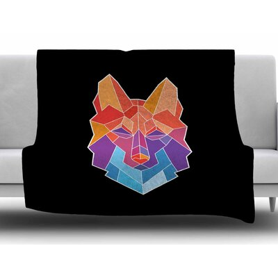 Prism Wolf by Draper Fleece Blanket Size: 60 W x 80 L