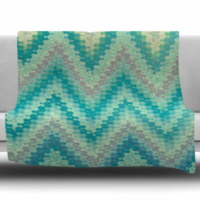 Seventies Emerald Chevron by Nika Martinez Fleece Blanket Size: 50 W x 60 L