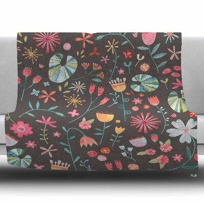 Wayside Flowers by Nic Squirrell Fleece Blanket Size: 60 W x 80 L