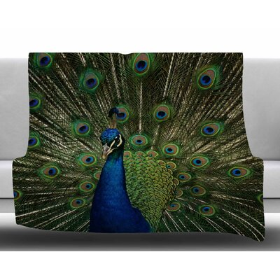 Proud Peacock by Angie Turner Fleece Blanket Size: 50 W x 60 L