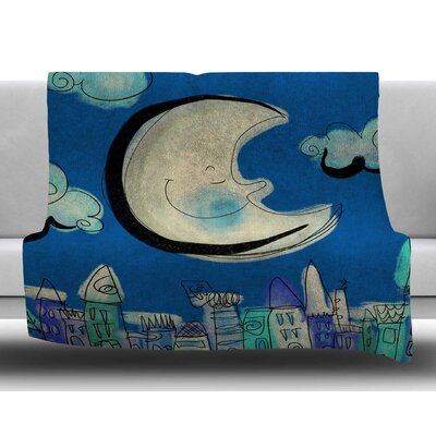 Moon by Carina Povarchik Fleece Blanket Size: 50 W x 60 L