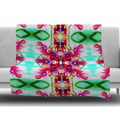 Tropical Floral Orchids 2 by Dawid Roc Fleece Blanket Size: 60 W x 80 L