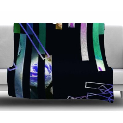 Geometric Stripes Abstract by Dawid Roc Fleece Blanket Size: 60 W x 80 L