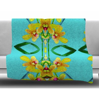 Tropical Floral Orchids 3 by Dawid Roc Fleece Blanket Size: 50 W x 60 L