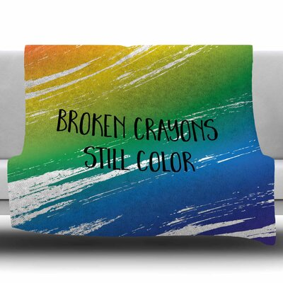 Broken Crayons by NL designs Fleece Blanket Size: 50 W x 60 L