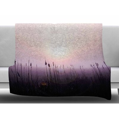 Sunrise Cattails by Angie Turner Fleece Blanket Size: 50 W x 60 L