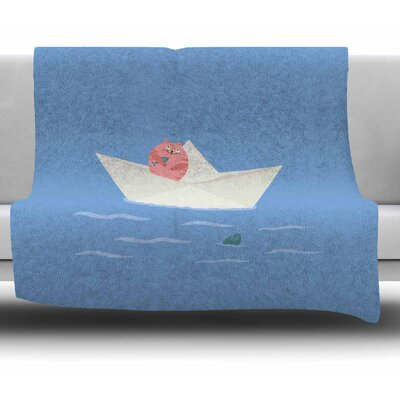 Cat & Paper Boat by Cristina Bianco Design Fleece Blanket Size: 60 W x 80 L