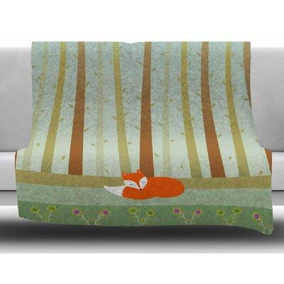 Sleeping Fox by Cristina Bianco Design Fleece Blanket Size: 50 W x 60 L