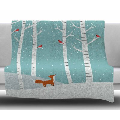 Fox Cardinals Winter by Cristina Bianco Design Fleece Blanket Size: 50 W x 60 L