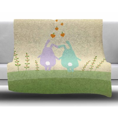 Cute Bunnies by Cristina Bianco Design Fleece Blanket Size: 60 W x 80 L