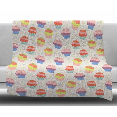 Cupcakes by Cristina Bianco Design Fleece Blanket Size: 50 W x 60 L