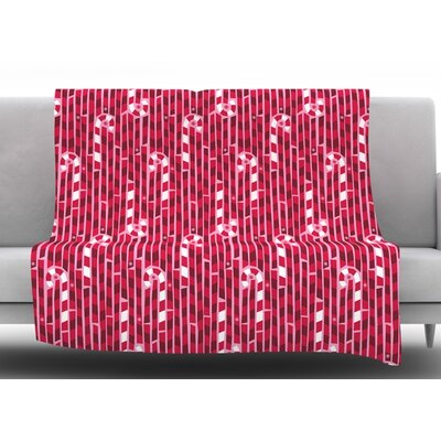 Candy Cane Lane by Allison Beilke Fleece Blanket Size: 50 W x 60 L
