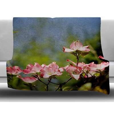 Dogwood by Angie Turner Digital Floral Fleece Blanket Size: 60 W x 80 L