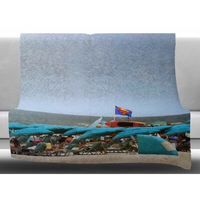 Superman At The Beach by Angie Turner Fleece Blanket Size: 50 W x 60 L