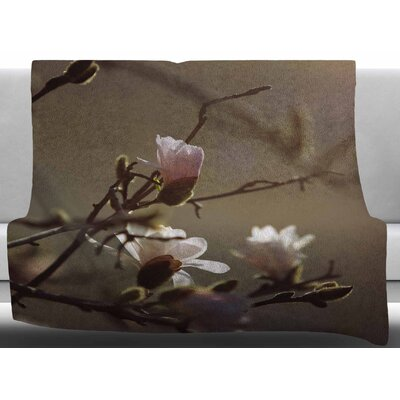 Magnolia Blooms by Angie Turner Fleece Blanket Size: 60 W x 80 L