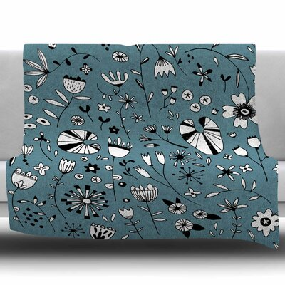 Etched Flowers by Nic Squirrell Fleece Blanket Size: 50 W x 60 L