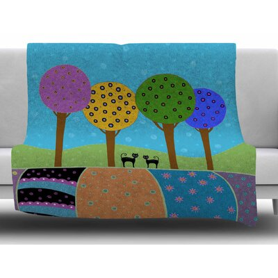 Cats & Colorful Landscape by Cristina Bianco Design Fleece Blanket Size: 60 W x 80 L