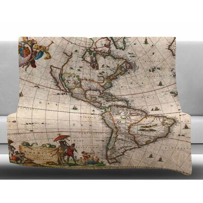 Vintage Map of the Americas by Bruce Stanfield Fleece Blanket Size: 60 W x 80 L
