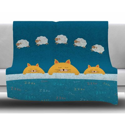 Sleeping Cats Zzzz by Cristina Bianco Design Fleece Blanket Size: 60 W x 80 L