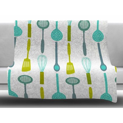 Kitchen Utensils by afe images Fleece Blanket Size: 50 W x 60 L