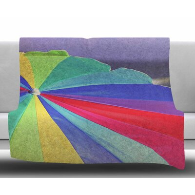 Beach Umbrella by Angie Turner Coastal Photography Fleece Blanket Size: 50 W x 60 L