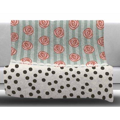 Mismatch Bohemain by Pellerina Design Fleece Blanket Color: Black/Pink/Gray Green, Size: 50 W x 60 L