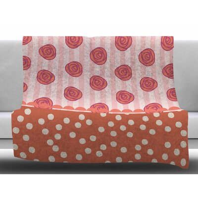 Mismatch Bohemain by Pellerina Design Fleece Blanket Color: Pink/Orange/White, Size: 50 W x 60 L