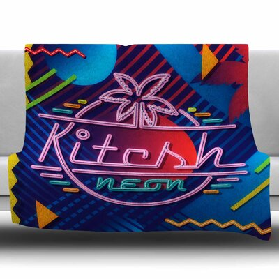 Kitsch Neon by Roberlan Fleece Blanket Size: 60 W x 80 L
