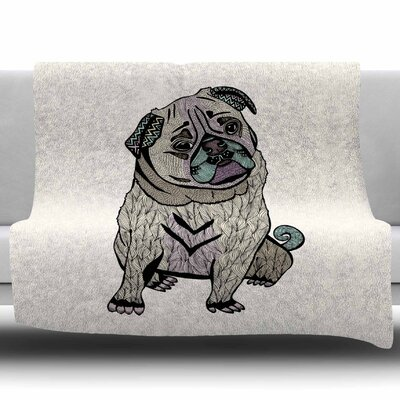 Ares The Pug by Pom Graphics Design Fleece Blanket Size: 60 W x 80 L
