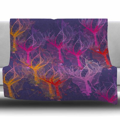 Colorful Trees by Marianna Tankelevich Fleece Blanket Size: 50 W x 60 L