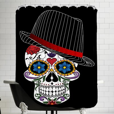 Hipster Horror Skull Halloween Shower Curtain Color: Pink