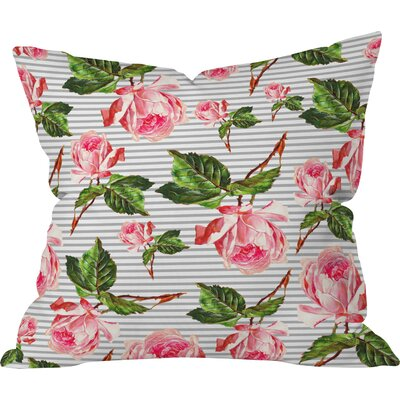 Allyson Johnson Roses and Stripes Indoor/outdoor Throw Pillow Size: 20 H x 20 W x 6 D