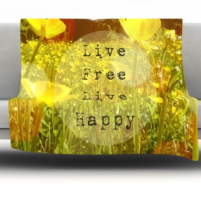 Live Free by Alison Coxon Fleece Throw Blanket Size: 40 L x 30 W