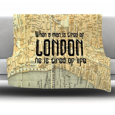 London Type by Alison Coxon Fleece Throw Blanket Size: 80 x 60