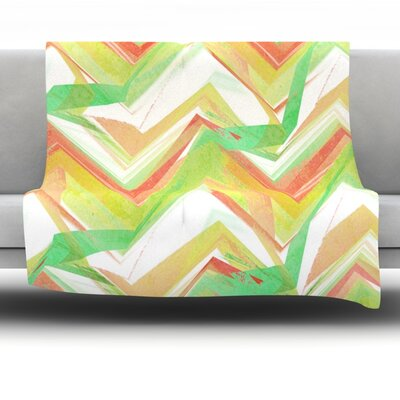 Summer Party Chevron by Alison Coxon Fleece Throw Blanket Size: 40