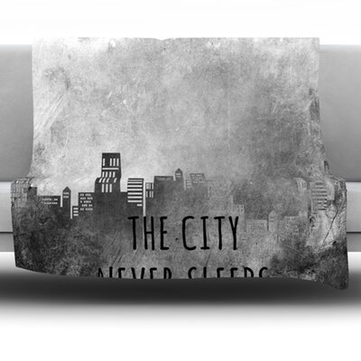 The City Never Sleeps by Alison Coxon Fleece Throw Blanket Size: 60 L x 50 W