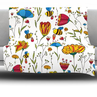 Bees by Alisa Drukman Fleece Throw Blanket Size: 80 L x 60 W