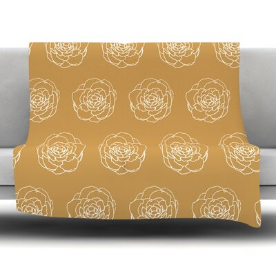 Golden Peonies by Pellerina Design Fleece Throw Blanket Size: 60 x 50