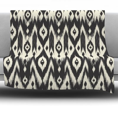 Black Cream Ikat by Amanda Lane Fleece Throw Blanket Size: 60 L x 50 W