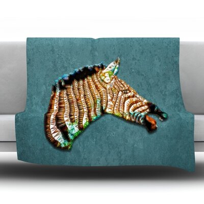 Laughing Zebra by Ancello Fleece Throw Blanket Size: 40 L x 30 W