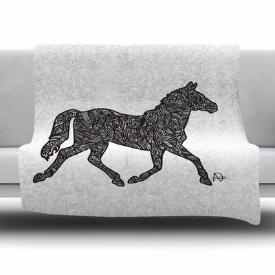 Horsie by Adriana De Leon Fleece Throw Blanket Size: 60 L x 50 W