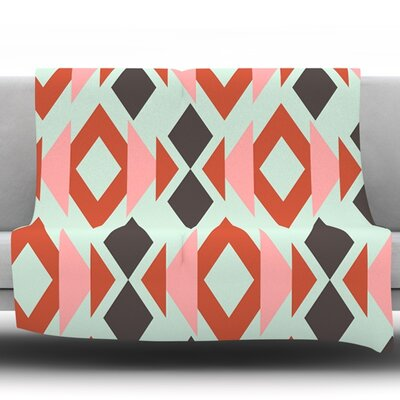 Coral Mint Triangle Weave by Pellerina Design Fleece Throw Blanket Size: 60 L x 50 W
