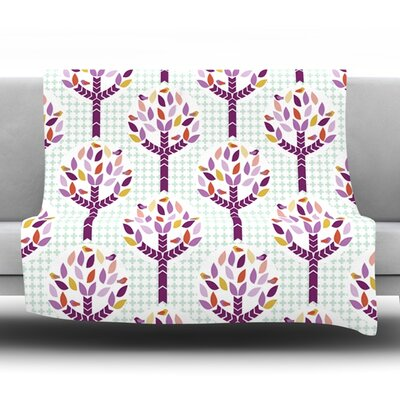Orchid Spring Tree by Pellerina Design Fleece Throw Blanket Size: 80 x 60